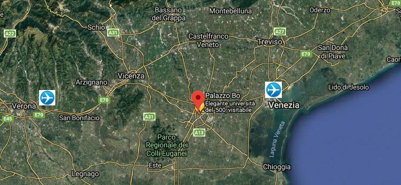 Satellite map of Padua and surroundings